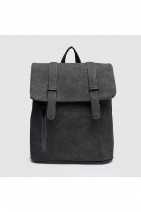 حقيبة ظهر نسائية مع سحاب - رمادي