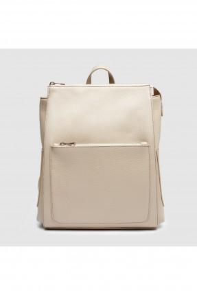 حقيبة ظهر نسائية مع جيوب جانبية - بيج