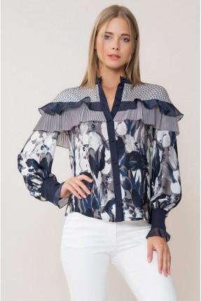 قميص نسائي مورد مع كشكش