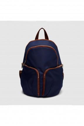 حقيبة ظهر نسائية مع جيوب وسحاب - ازرق داكن