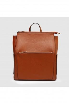 حقيبة ظهر نسائية مع جيوب جانبية - بني