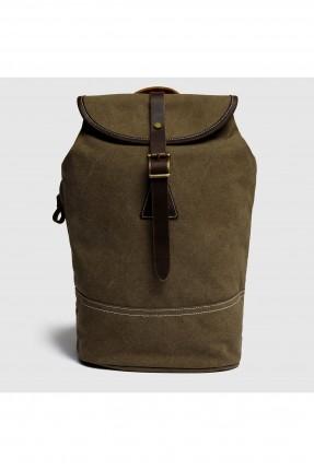 حقيبة ظهر نسائية مع حزام - زيتي