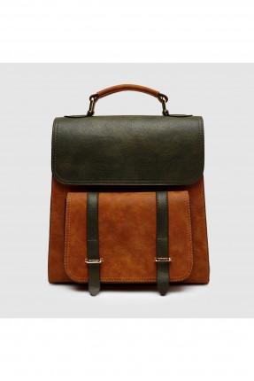 حقيبة ظهر نسائية مع حزام - بني