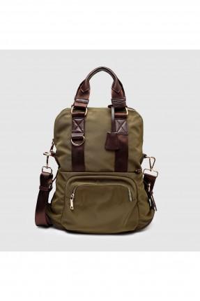 حقيبة ظهر نسائية مع جيب - زيتي