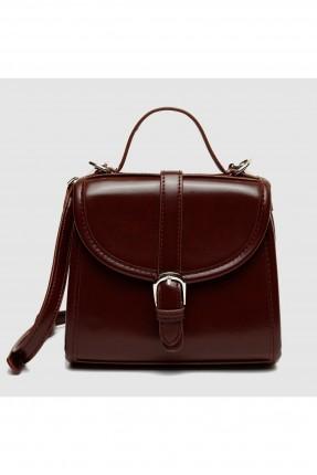 حقيبة يد نسائية مع حزام - خمري