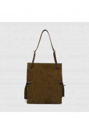 حقيبة يد نسائية جلد مع شراشيب