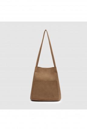 حقيبة يد نسائية مع جيوب - بني