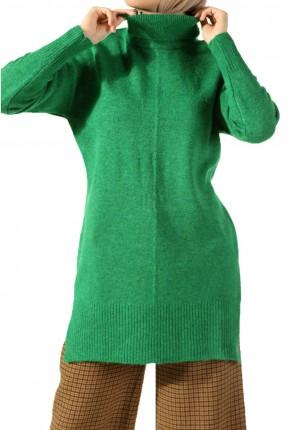 كنزة صوف  نسائي بياقة عالية - اخضر