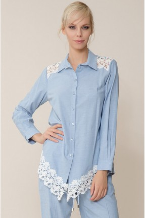 قميص نسائي مع دانتيل - ازرق