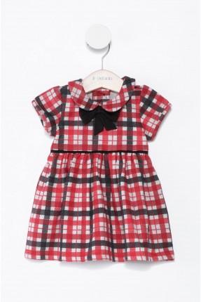 فستان اطفال بناتي كاروهات - احمر