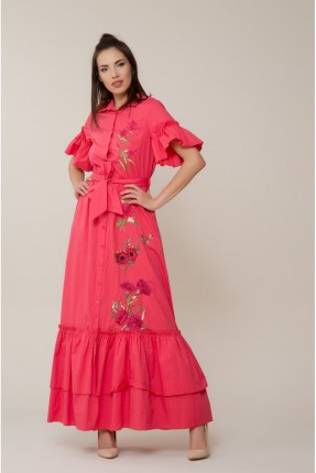 فستان سبور مع كشكش مطرز ورد