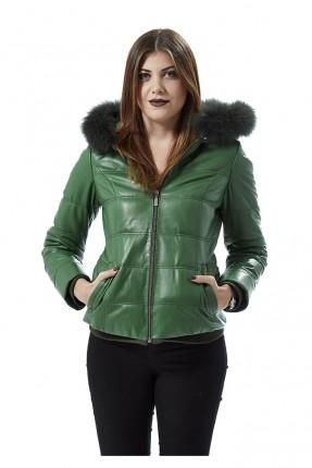 جاكيت جلد نسائي مع كبشونة فرو - اخضر
