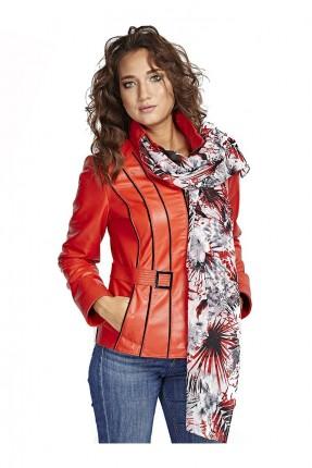 جاكيت جلد نسائي سبور مع جيوب - احمر