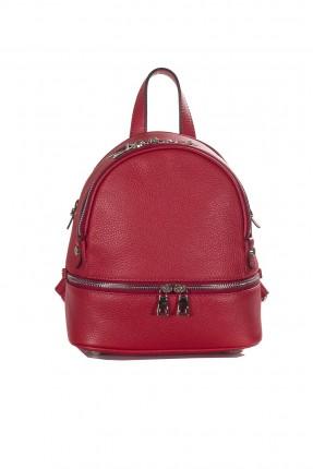 حقيبة ظهر نسائية جلد سبور - احمر