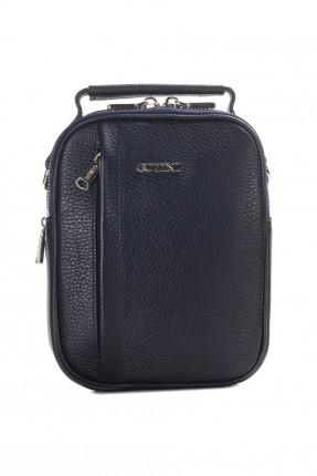 حقيبة يد رجالية جلد - ازرق داكن