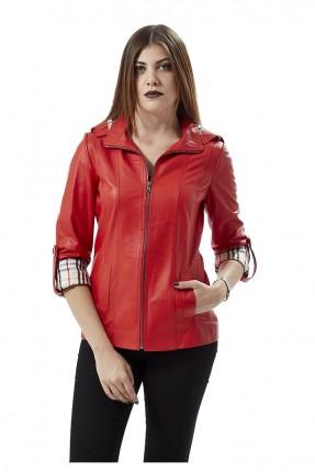 جاكيت جلد نسائي مع كبشونة - احمر