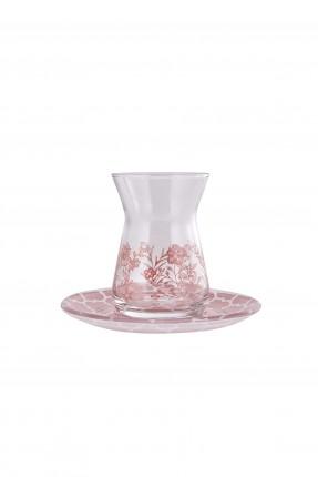 طقم كاسات شاي مزخرفة /12 قطعة/ - وردي