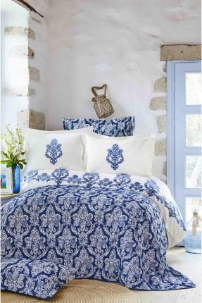 طقم غطاء سرير مزدوج بنقش ازرق