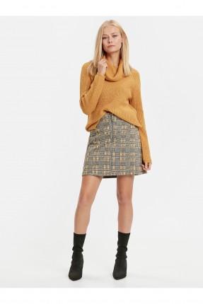 تنورة قصيرة منقشة مع سحاب - اصفر