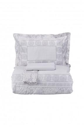 طقم غطاء سرير مزدوج مزخرف - رمادي