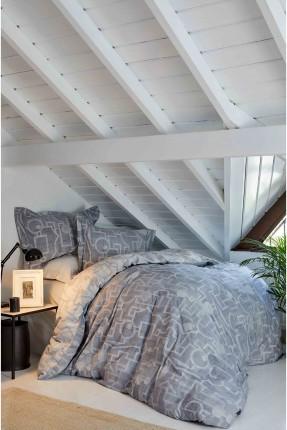 طقم غطاء سرير مزدوج برسومات - رمادي