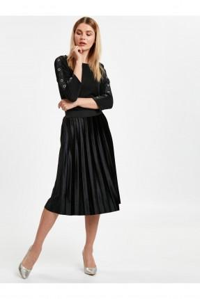 تنورة قصيرة مع كسرات رسمي  - اسود