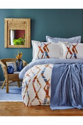 طقم غطاء سرير مزدوج مع بطانية ازرق