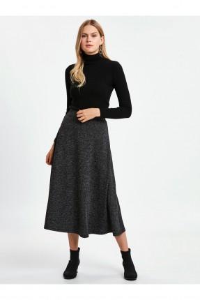 تنورة طويلة لامعة كلوش - اسود