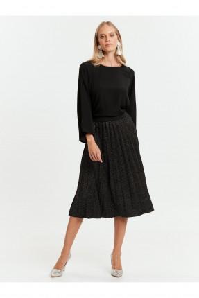 تنورة قصيرة لامعة مع كسرات - اسود