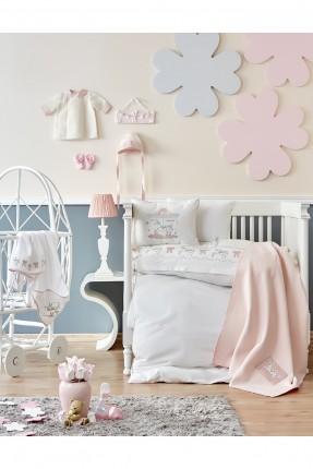 طقم غطاء سرير بيبي منقش برسومات