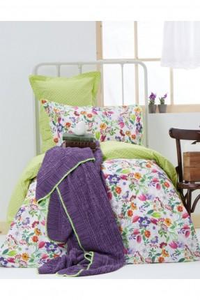 طقم غطاء سرير مفرد مع بطانية - موف