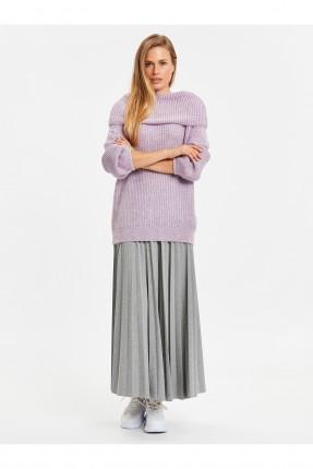 تنورة طويلة مع كسرات - رمادي