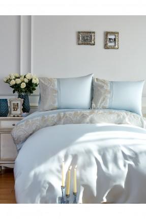 طقم غطاء سرير مزدوج بنقوش ذهبية