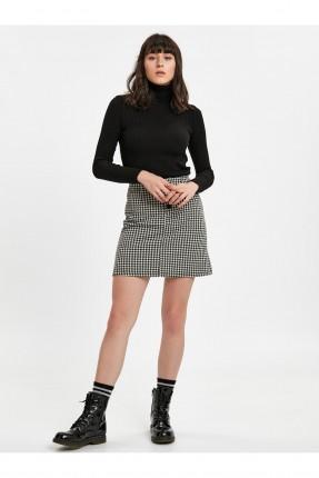 تنورة قصيرة كاروهات - اسود