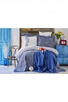 طقم غطاء سرير مزدوج مزخرف - ازرق