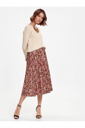 تنورة قصيرة منقشة بالورود