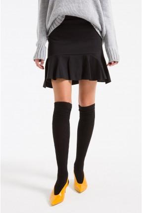 تنورة قصيرة مع كشكش سكيني - اسود
