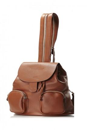 حقيبة ظهر نسائية جلد رسيمة - بني