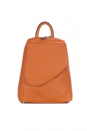 حقيبة ظهر نسائية جلد رسمية - برتقالي