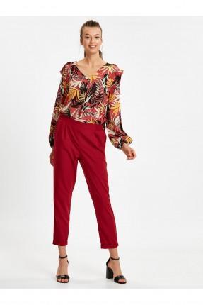بنطال نسائي مع جيوب ومطاط - احمر