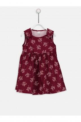 فستان بيبي بناتي منقش - خمري
