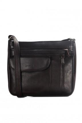 حقيبة يد نسائية جلد مع جيب - اسود