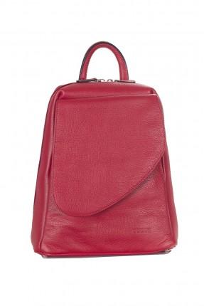 حقيبة ظهر نسائية جلد - احمر