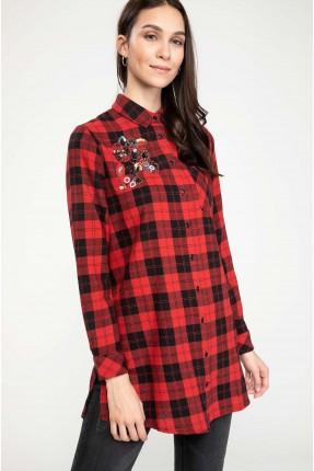 قميص نسائي كاروهات - احمر