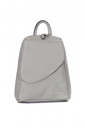 حقيبة ظهر نسائية جلد - رمادي