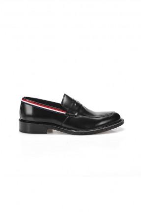 حذاء رجالي شيك مزين بحزام - اسود