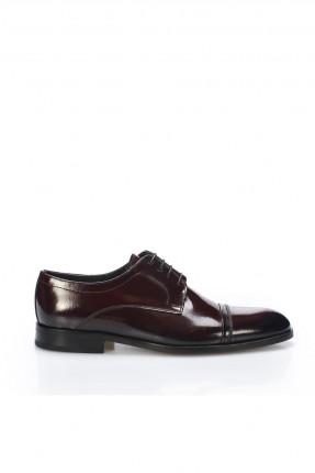 حذاء رجالي شيك برباط ذو لمعة - خمري