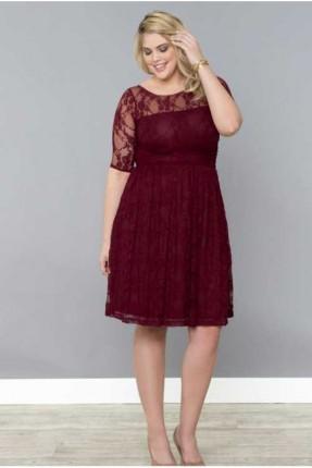 فستان رسمي دانتيل - خمري