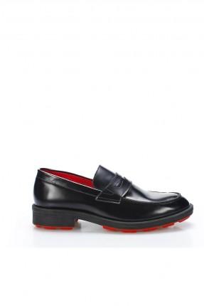 حذاء رجالي شيك مزين بحزام ذو لمعة - اسود