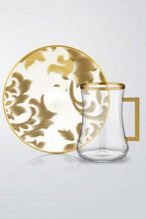 طقم شاي 6 اشخاص - زخرفة ذهبية مموهة